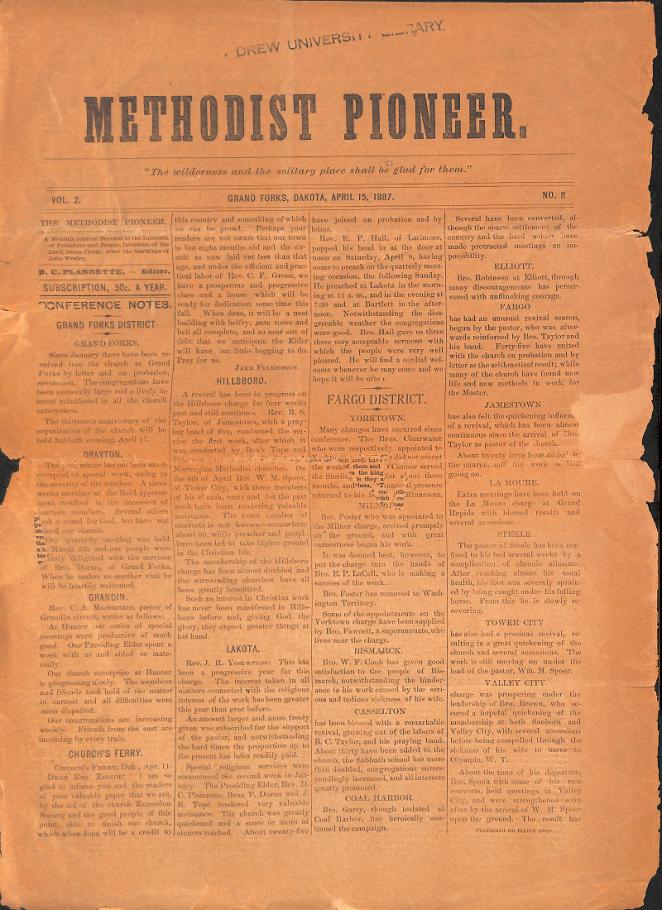 Image of Methodist Pioneer newspaper from Methodist Library at Drew University